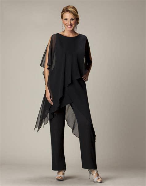 Black Chiffon Mother Of The Bride Pant Suit Bride Goom Formal Outfits Evening Elegant Plus Size ...