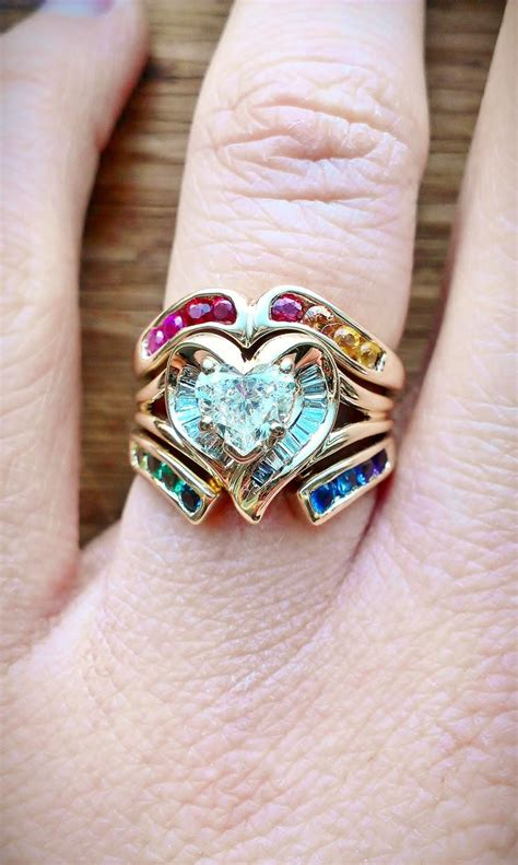 Rainbow Heart Wedding Rings )  Colors Of The Rainbow. Waterfowl Rings. Large Gold Rings. Natural Crystal Wedding Rings. Finger Print Wedding Rings. Diamond Around Engagement Rings. Nice Rings. Country Girl Rings. Initial Engagement Rings