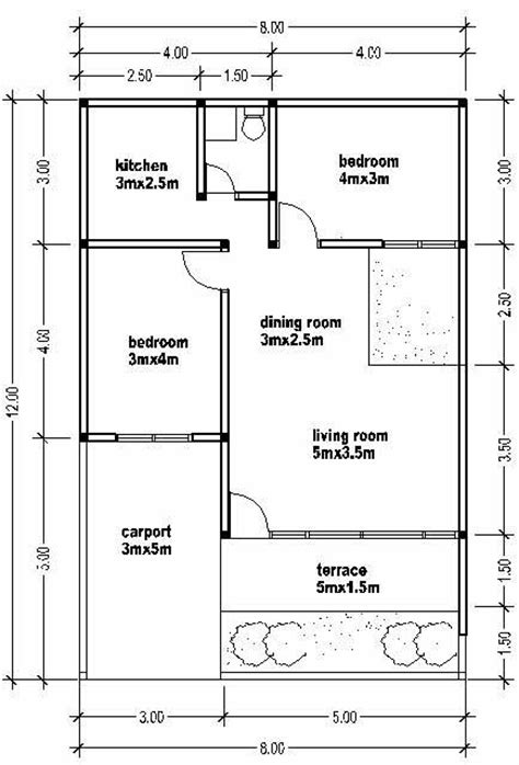 small home floor plans small house plan wide 8m house affair