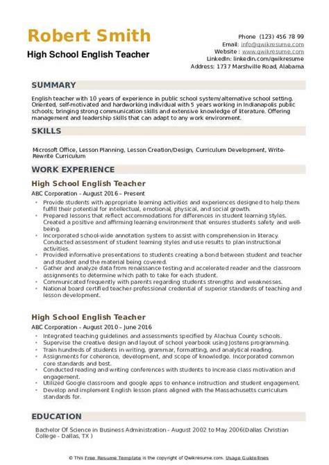 high school english teacher resume sles qwikresume