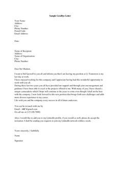 Farewell Letter - Sample letters to say goodbye to co-workers and colleagues, including farewell