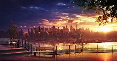 Anime Sunset Skyline Wallpapers Cityscape Scenic Skyscrapers