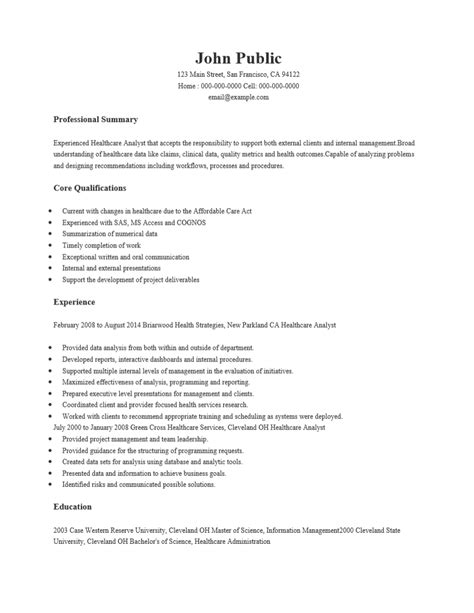 Business Analyst Healthcare Resume by Free Healthcare Business Analyst Resume Template Sle