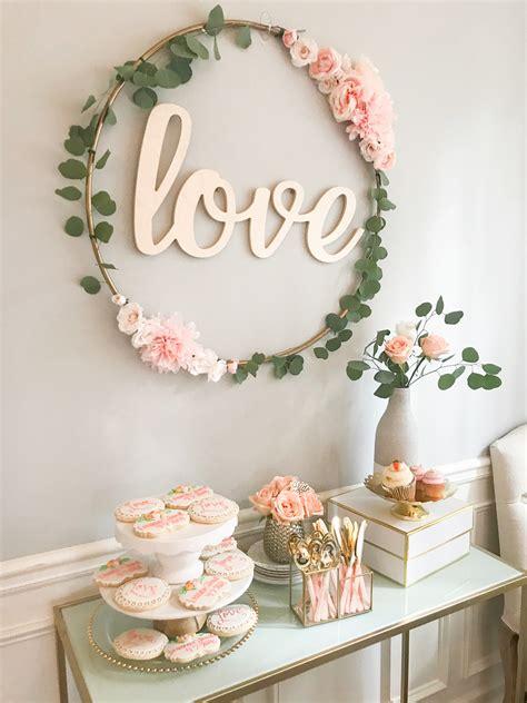 diy hula hoop sign blush and gold bridal shower decor