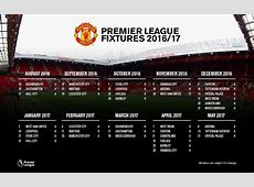 Manchester United Premier League fixtures 201617