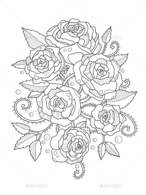 Roses Coloring Book for Adults | Flower coloring pages