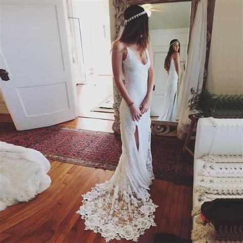 Sheath V Neck Sweep Train Backless Lace Wedding Dress With