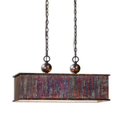 uttermost albiano rectangle 2 light pendant in bronze 21922
