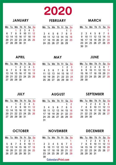 calendar printable green red monday start