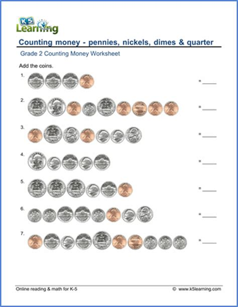 grade 2 counting money worksheet counting coins k5 learning