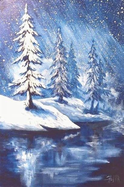Acrylic Easy Painting Landscape Winter Simple Tutorial