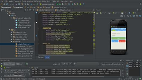android studio android login registration system with node js and mongodb