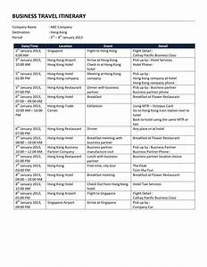 business travel itinerary template With itenary template