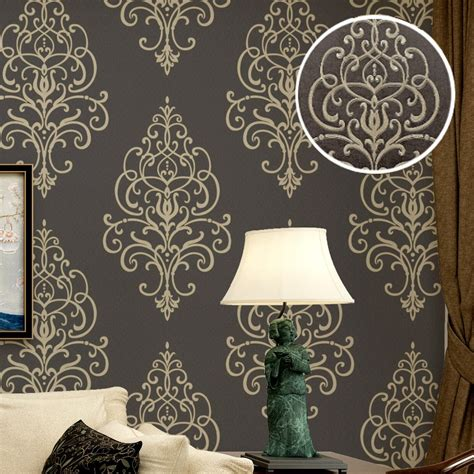 embossed texture large damask wallpaper roll gold