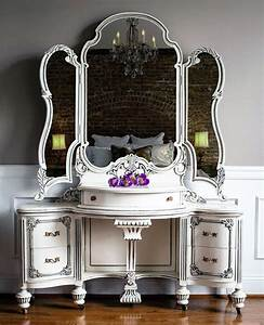 Vintage, Vanity, And, Chest, In, Antique, White, And, Pitch, Black, Glaze