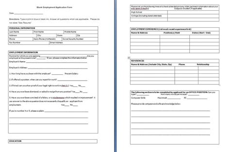 blank employment application form sle templates