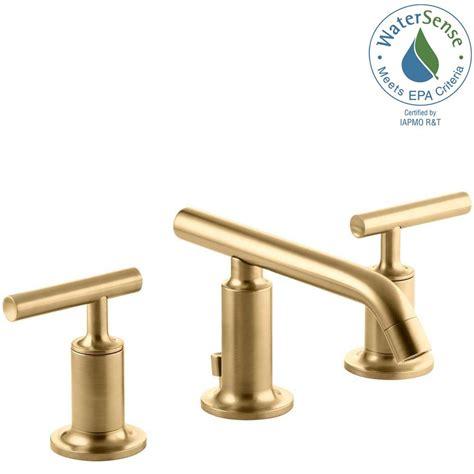 brushed gold bathroom faucet kohler purist 8 in widespread 2 handle bathroom faucet in