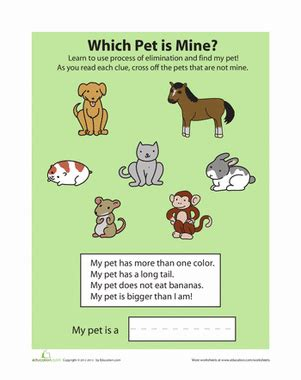 process of elimination pets worksheet education 719 | process elimination pets sorting categorizing