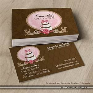 Elegant cake bakery business cards for Cake business card ideas