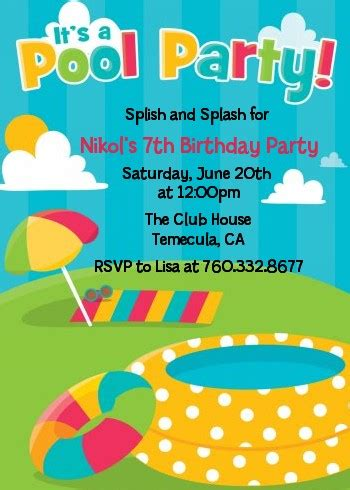 pool birthday party invitations  pool party invitations
