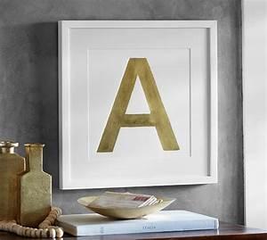 gold leaf letter framed prints pottery barn With letter prints framed