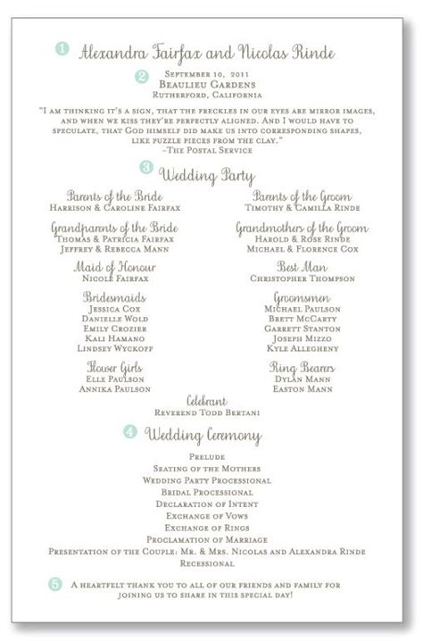 page wedding ceremony programs pretty header