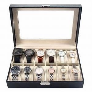 Coffret Rangement Montre : pr sentoir bo te coffret montre noir coffret de rangement pour montres avec serrure 12 ~ Teatrodelosmanantiales.com Idées de Décoration
