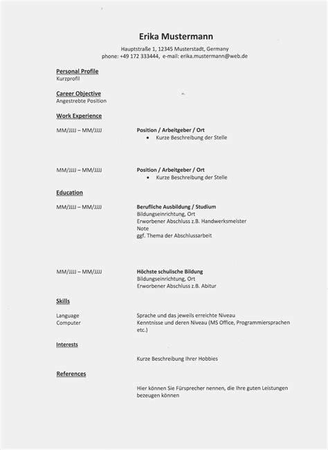 Lebenslauf Englisch Muster by 20 Lebenslauf Englisch Vorlage Freyajacklin