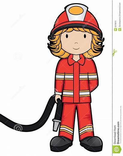 Fireman Fire Clipart Clip Fuoco Ragazza Vettore