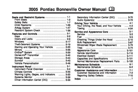 pontiac bonneville owners manual  give