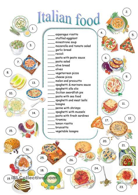 italian food educational worksheets