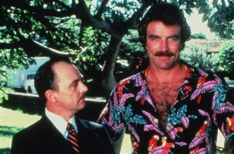 tom selleck and hillerman a k a magnum and higgins on the set of magnum p i rants with