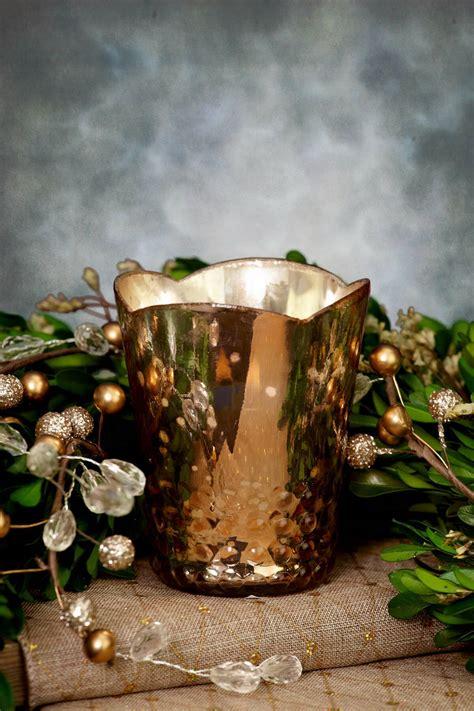 array glass votive cup  rose gold