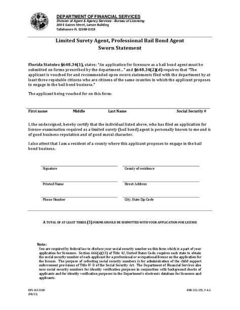 florida affidavit form free sworn statement form florida free download