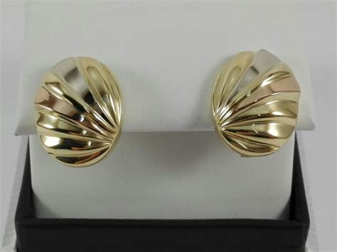 orecchini donna quadri  oro giallo bianco  rosa  kt catawiki