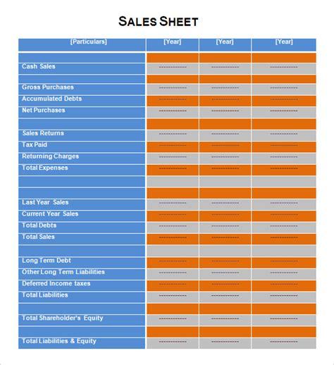sales sheet template 7 sales sheet sles sle templates