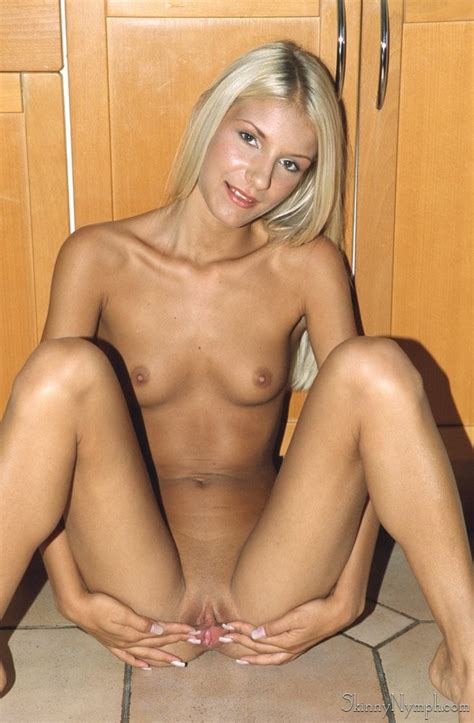 Slim Tanned Blonde With Shaved Skinny Pussy