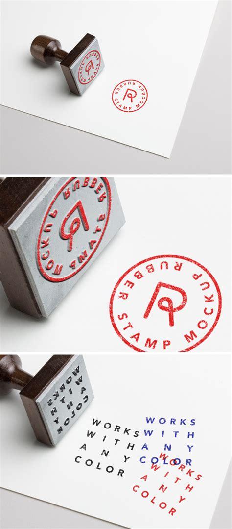 rubber stamp mockup psd template wooskins