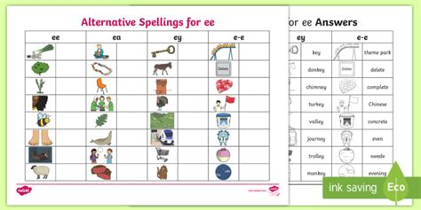 * New * Alternative Spellings Ee, Ey And Ee Table Activity Sheet  Ee, Ea