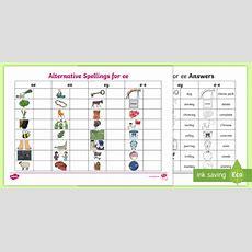 * New * Alternative Spellings Ee, Ey And Ee Table Worksheet  Ee, Ea, Ey,ee
