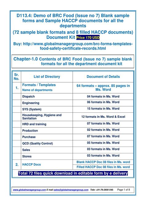 brc food issue  sample form  global manager group
