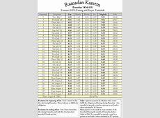 Ramadan 1434 AH TorontoGTA Fasting & Prayer Timetable