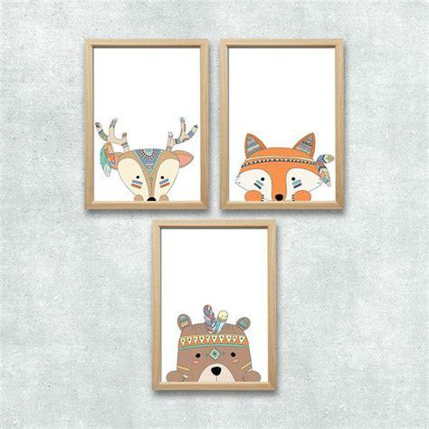 Kinderzimmer Junge Indianer by Bilder Wald Tiere Set Kunstdruck A4 Kinderzimmer Deko