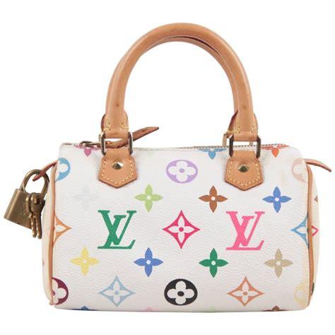 louis vuitton white multicolor monogram canvas mini speedy handbag purse  stdibs