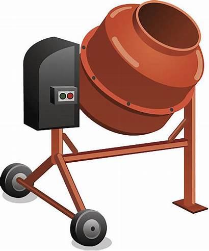 Mixer Vector Cement Concrete Clip Icon Illustrations