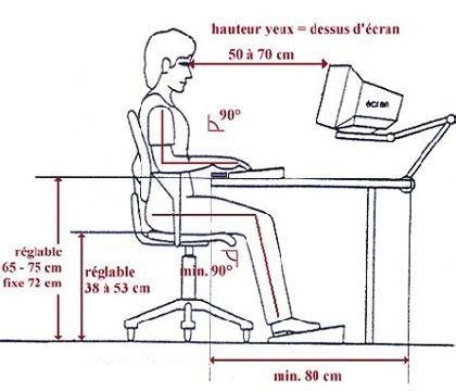 hauteur de bureau standard ergonomie sur le lieu de travail accueil
