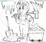 Miner Coloring Cave Pages Mining Clipart Happy Outlined Illustration Vector Royalty Visekart Getcolorings Printable Background sketch template