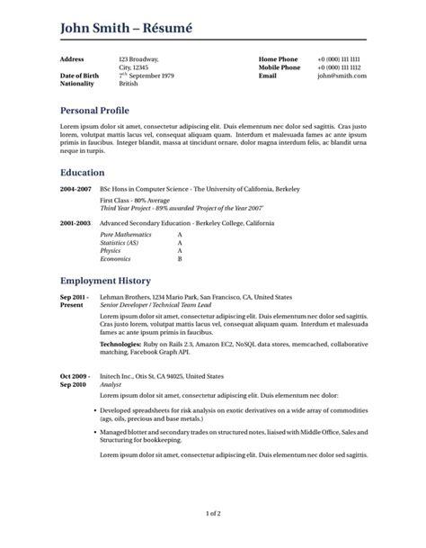 latex templates curricula vitaeresumes