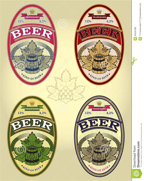 set   oval labels  beer stock vector image