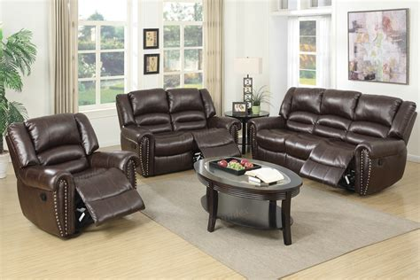 Brown Leather Reclining Sofa And Loveseat by Brown Bonded Leather 3pc Reclining Sofa Loveseat And